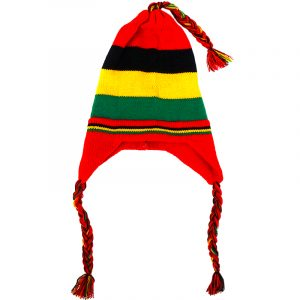 Handmade knit chullo beanie hat with ear flaps, braids, and horizontal striped pattern in Rasta colors.