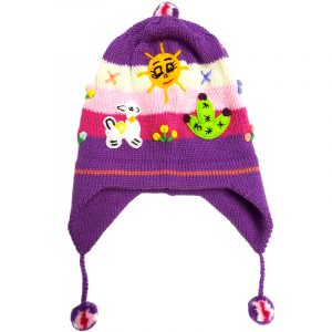 Handmade kid's earflap beanie hat with handwoven alpaca wool, pom poms, embroidered animal designs, and striped pattern in purple, white, and pink color combination.