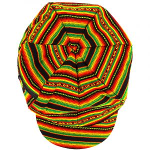 Handmade puff tam bill hat with tribal print striped pattern and stash pocket in Rasta colors.
