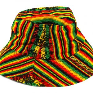 Handmade bucket hat with tribal print striped pattern and strap in Rasta colors.
