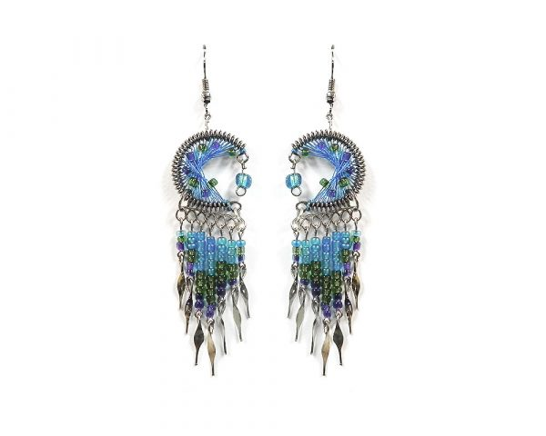 Round-shaped semicircle crescent half moon silk thread earrings with long seed bead and alpaca silver metal dangles in turquoise, green, and indigo color combination.