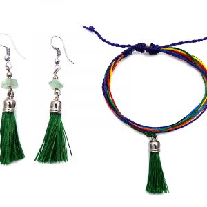 Handmade rainbow multi strand string pull tie bracelet with silk thread tassel dangle and matching tassel earrings with chip stones in green color.
