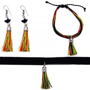Handmade multi strand string pull tie bracelet with silk thread tassel dangle, matching tassel earrings with chip stones, and matching black velvet ribbon choker in Rasta colors.
