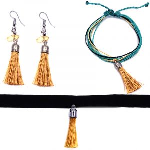 Handmade multi strand string pull tie bracelet with silk thread tassel dangle, matching tassel earrings with chip stones, and matching black velvet ribbon choker in golden yellow, turquoise mint, and beige color combination.