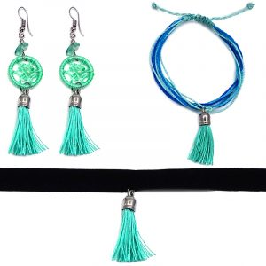 Handmade multi strand string pull tie bracelet with silk thread tassel dangle, matching dream catcher tassel earrings with chip stones, and matching black velvet ribbon choker in mint green, aqua, turquoise, and blue color combination.