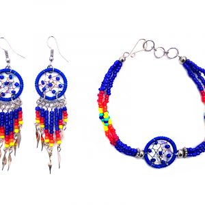 Handmade Native American inspired round beaded thread dream catcher multi strand bracelet and matching earrings with long seed bead and alpaca silver dangles in blue, dark pink, red, orange, yellow, and mint color combination.