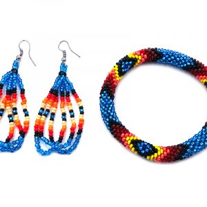 Handmade Native American inspired Czech glass seed bead bangle bracelet and matching multi strand teardrop hoop dangle earrings in turquoise blue, black, dark red, red, orange, and yellow color combination.