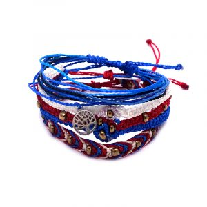 Handmade three piece pull tie bracelet set in red, white, and blue USA American flag inspired color combination.