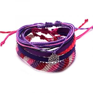 Handmade three piece pull tie bracelet set in purple, lavender, hot pink, light pink, and salmon pink color combination.