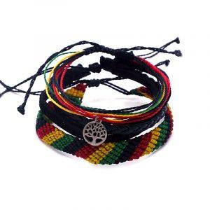 Handmade three piece pull tie bracelet set in Rasta color combination.