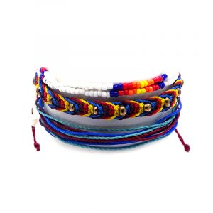 Handmade three piece pull tie bracelet set in blue, red, orange, yellow, turquoise, and white color combination.
