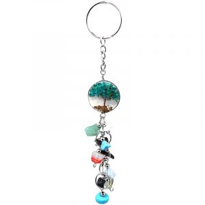 Handmade round clear acrylic resin, copper wire, and crushed chip stone inlay tree of life with long multicolored tumbled gemstone dangles on silver metal key ring in teal green chrysocolla.