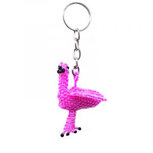 Handmade Czech glass seed bead figurine keychain of a flamingo bird in pink and black color combination.