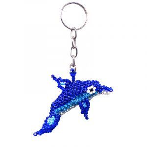 Czech glass seed bead figurine keychain of a dolphin in blue, turquoise, white, silver, and black color combination.