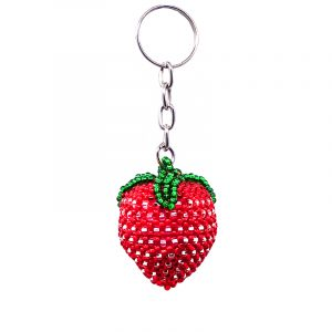 Handmade Czech glass seed bead figurine keychain of a strawberry fruit in red, white silver, and green color combination.