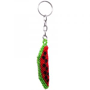 Handmade Czech glass seed bead figurine keychain of a watermelon fruit in red, lime green, and black color combination.
