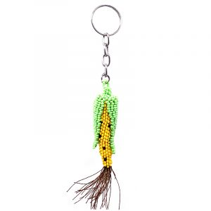 Handmade Czech glass seed bead figurine keychain of a corn in yellow, black, brown, and lime green color combination.