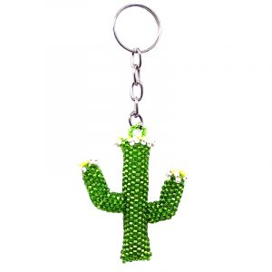 Handmade Czech glass seed bead figurine keychain of a floral saguaro cactus plant in lime green, white, and yellow color combination.