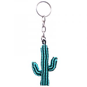 Handmade Czech glass seed bead figurine keychain of a striped saguaro cactus plant in turquoise mint blue and black color combination.
