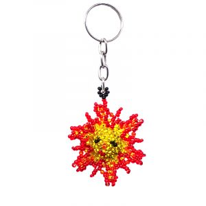 Handmade Czech glass seed bead figurine keychain of a sun with a face in golden yellow, orange, red, and black color combination.