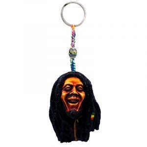 Handmade durepox resin figurine keychain of laughing Bob.