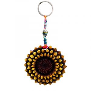 Handmade durepox resin figurine keychain of a sunflower in yellow and brown color combination.