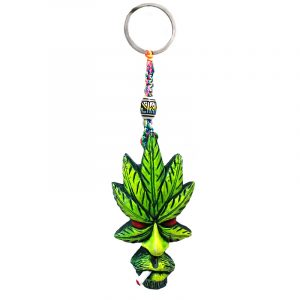 Handmade durepox resin figurine keychain of a smoking leaf man face in lime green, red, and white color combination.