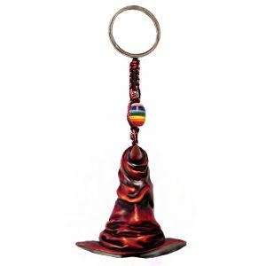 Handmade durepox resin figurine keychain of a red wizard hat.