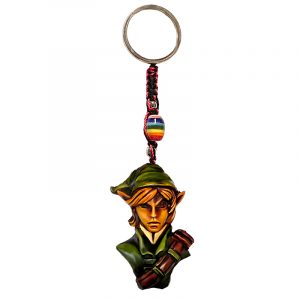 Handmade durepox resin figurine keychain of an elf with a green outfit.