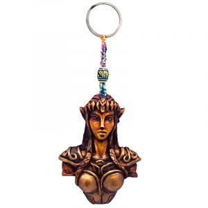 Handmade durepox resin figurine keychain of a gold female elf warrior.