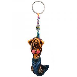 Handmade durepox resin figurine keychain of a sexy mermaid with pink seashell top and blue fin.