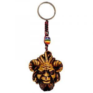 Durepox resin figurine keychain of an evil goat man head representing the Greek mythology god of the wild, Pan.