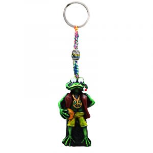Handmade durepox resin figurine keychain of a smoking green frog with googly eyes and a peace sign chain in Rasta colors.