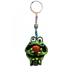 Handmade durepox resin figurine keychain of a green frog with googly eyes holding a stone.