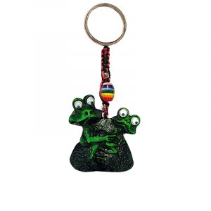 Handmade durepox resin figurine keychain of two horny green frogs with googly eyes.