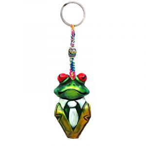 Handmade durepox resin figurine keychain of a green tree frog with red eyes wearing a tuxedo suit.