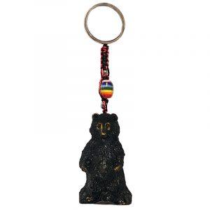 Handmade durepox resin figurine keychain of a grizzly bear.