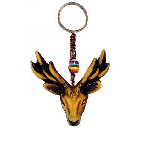 Handmade durepox resin figurine keychain of a deer head.