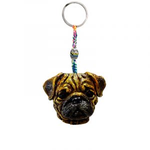 Handmade durepox resin figurine keychain of a brown Pug dog head.