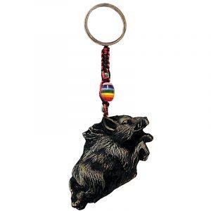 Handmade durepox resin figurine keychain of a boar.