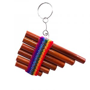 Handmade mini wooden keychain of a pan flute with rainbow-colored strap and silver metal key ring.