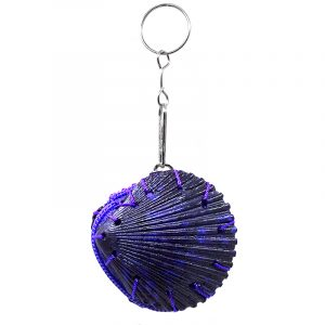 Handmade authentic clam seashell coin purse bag with natural colored dye and silver metal key ring in purple color.