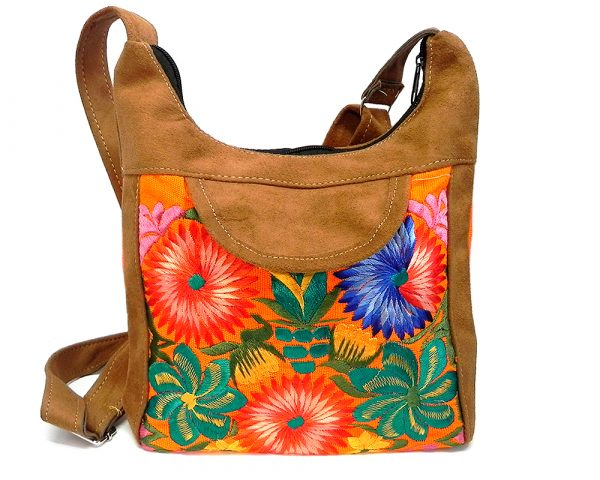 Square-shaped hobo crossbody purse bag with multicolored embroidered floral designs, brown vegan leather suede, and neon orange fabric.
