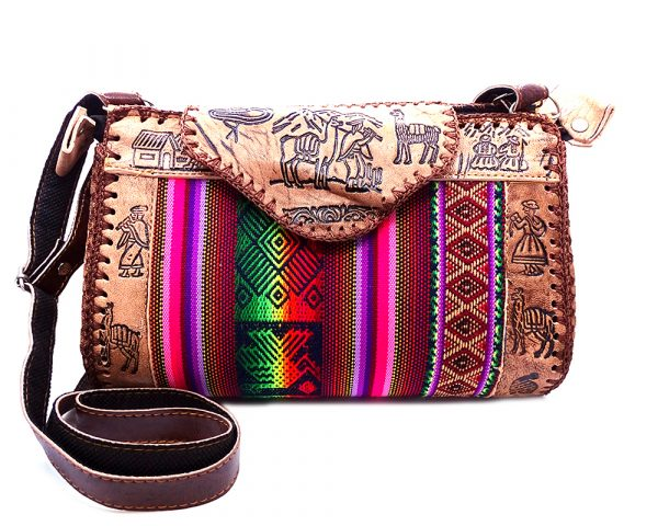 Handmade Peruvian purse bag with authentic leather, acrylic wool, snap button and zipper closure, and adjustable strap in brown and multicolored color combination.