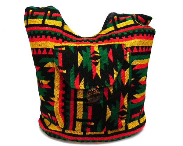 Large slightly cushioned crossbody hobo purse bag with multicolored Aztec inspired tribal print pattern material in Rasta colors.