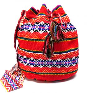 Handmade large woven wool crossbody bucket purse bag with multicolored tribal print striped pattern in red color.