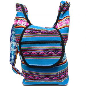 Handmade large crossbody hobo purse bag with tribal print striped pattern material (or manta Inca), vegan leather base, and outer flap pocket in turquoise blue and multicolored color combination.