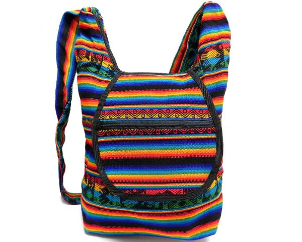 Large crossbody hobo purse bag with tribal print striped pattern material (or manta Inca), vegan leather base, and outer flap pocket in rainbow colors.