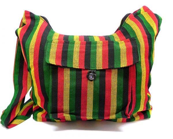 Large crossbody hobo purse bag with multicolored striped print pattern material in Rasta colors.