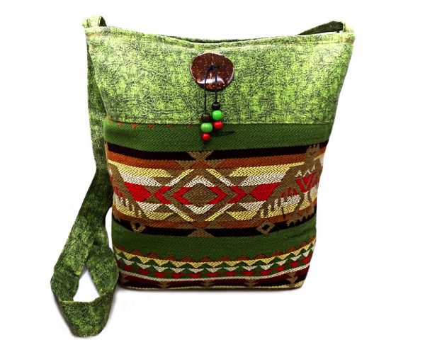 Handmade large cushioned square-shaped crossbody purse bag with Aztec inspired tribal print pattern and Southwest eahle design material, vegan suede, and coconut button and beads in olive green, tan, brown, light yellow, red, and black color combination.